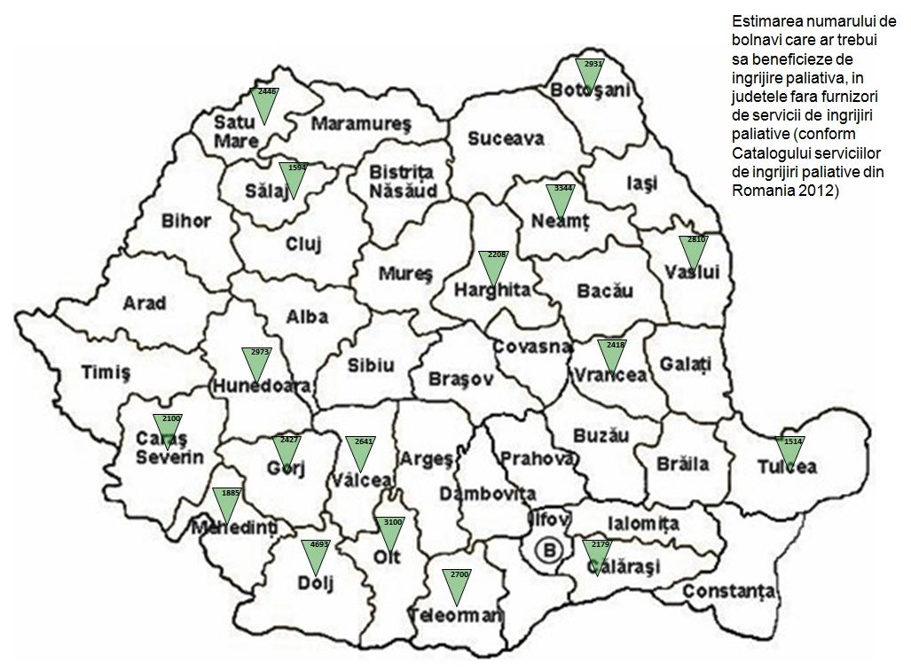 Harta 17 judete cu medici pentru abordare paliativa